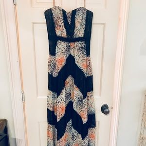 BCBG print & lace blocked strapless dress